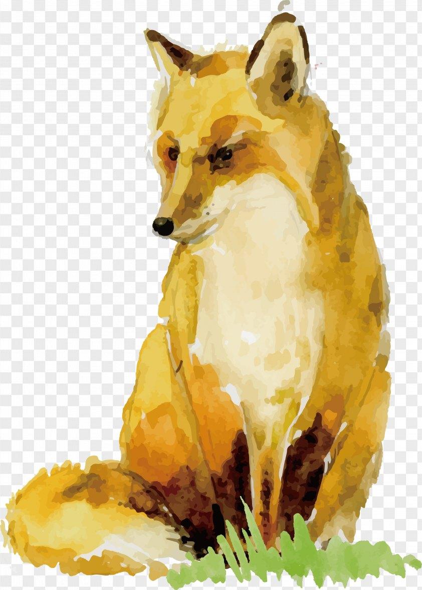 Watercolor Fox Design PNG
